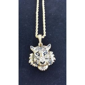 "Other - 14k Gold Tiger Pendant 24"" Rope Chain Necklace"